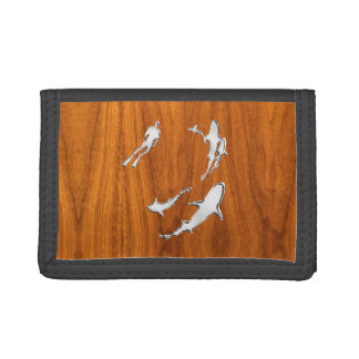 Chrome Style Diver with Sharks on Teak Veneer Trifold Wallet