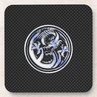 Chrome style Dragon badge on Carbon Fiber Print Drink Coaster