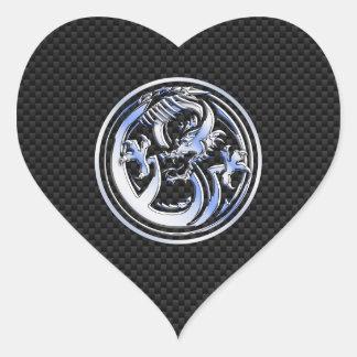 Chrome style Dragon badge on Carbon Fiber Print Heart Sticker