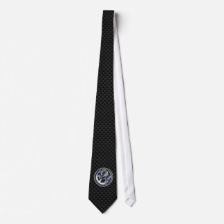 Chrome style Dragon badge on Carbon Fiber Print Neck Tie