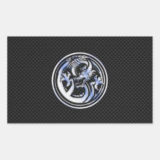 Chrome style Dragon badge on Carbon Fiber Print Rectangular Sticker