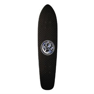 Chrome style Dragon badge on Carbon Fiber Print Skateboard
