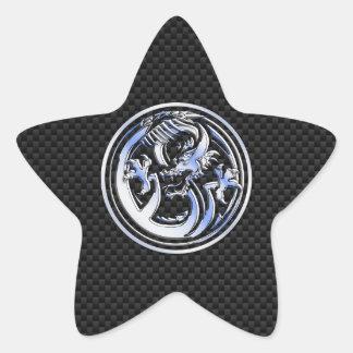 Chrome style Dragon badge on Carbon Fiber Print Star Sticker