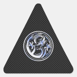 Chrome style Dragon badge on Carbon Fiber Print Triangle Sticker