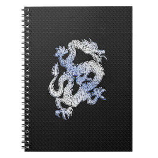 Chrome Style Dragon in Black Snake Skin Print Spiral Notebook