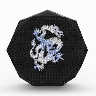 Chrome Style Dragon on Black Snake Skin Print Acrylic Award
