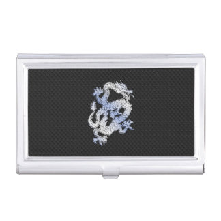 Chrome Style Dragon on Black Snake Skin Print Case For Business Cards