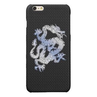 Chrome Style Dragon on Black Snake Skin Print Glossy iPhone 6 Plus Case