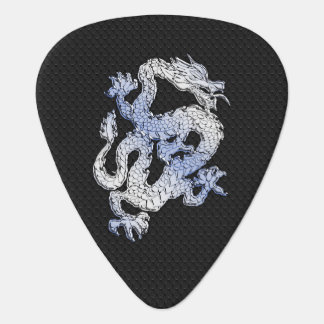 Chrome Style Dragon on Black Snake Skin Print Guitar Pick