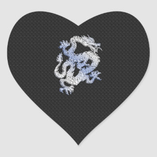 Chrome Style Dragon on Black Snake Skin Print Heart Sticker