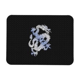 Chrome Style Dragon on Black Snake Skin Print Rectangular Photo Magnet