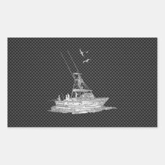 Chrome Style Fishing Boat on Carbon Fiber Rectangular Sticker