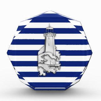 Chrome Style Lighthouse on Blue Nautical Stripes Award