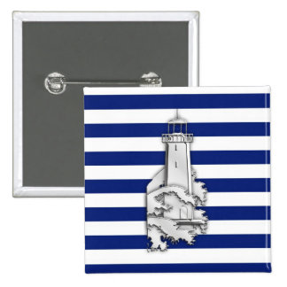 Chrome Style Lighthouse on Blue Nautical Stripes Button
