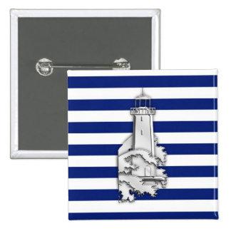 Chrome Style Lighthouse on Blue Nautical Stripes Button