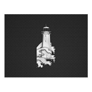 Chrome Style Lighthouse on Carbon Fiber Postcard