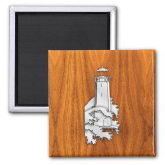 Chrome Style Lighthouse on Teak Wood Decor 2 Inch Square Magnet