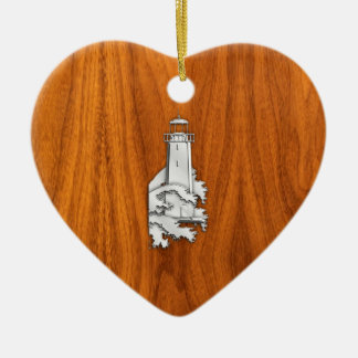 Chrome Style Lighthouse on Teak Wood Decor Ceramic Ornament