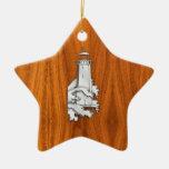 Chrome Style Lighthouse on Teak Wood Decor Double-Sided Star Ceramic Christmas Ornament