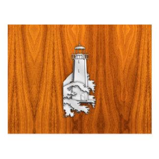 Chrome Style Lighthouse on Teak Wood Decor Postcard