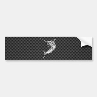 Chrome Style Marlin on Carbon Fiber Bumper Sticker