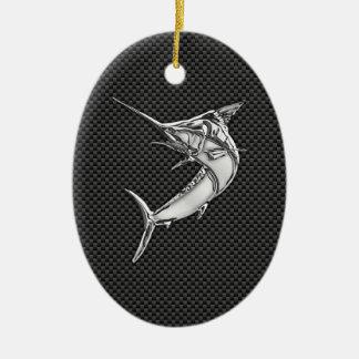 Chrome Style Marlin on Carbon Fiber Ceramic Ornament