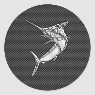 Chrome Style Marlin on Carbon Fiber Classic Round Sticker