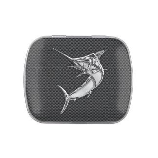 Chrome Style Marlin on Carbon Fiber Jelly Belly Candy Tin