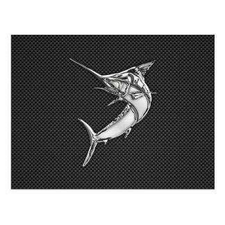 Chrome Style Marlin on Carbon Fiber Postcard