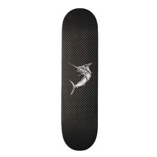 Chrome Style Marlin on Carbon Fiber Skateboard