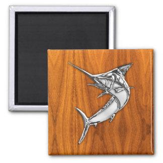 Chrome Style Marlin on Teak Wood Decor 2 Inch Square Magnet
