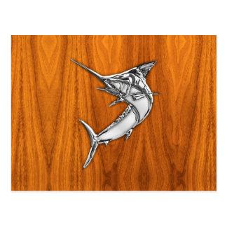 Chrome Style Marlin on Teak Wood Decor Postcard