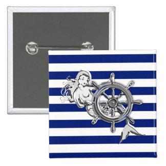 Chrome Style Mermaid on Nautical Stripes Button