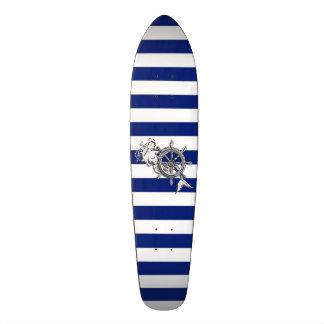 Chrome Style Mermaid on Nautical Stripes Skateboard Deck