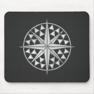 Chrome Style Nautical Compass Star on Carbon Fiber Mouse Pad
