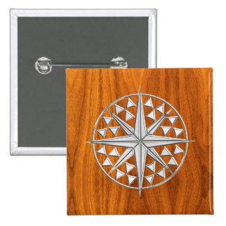 Chrome Style Nautical Compass Star on Teak Veneer Pinback Button
