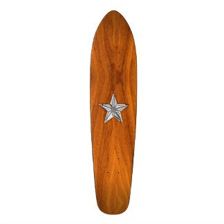 Chrome Style Nautical Star on Teak Veneer Skateboard Deck