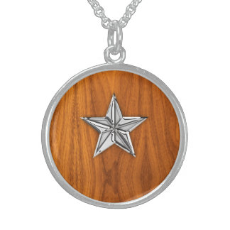 Chrome Style Nautical Star on Teak Veneer Sterling Silver Necklace