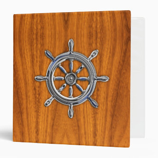 Chrome Style Nautical Wheel on Teak Veneer 3 Ring Binder