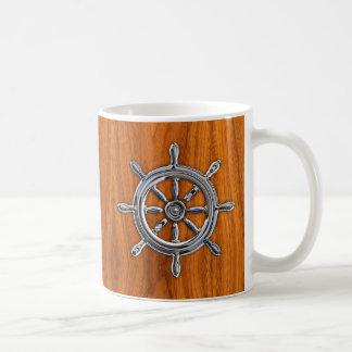 Chrome Style Nautical Wheel on Teak Veneer Coffee Mug