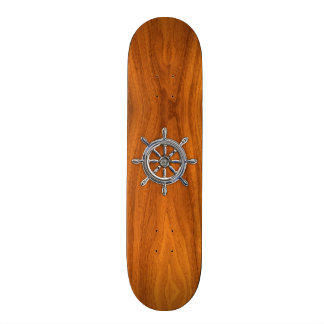Chrome Style Nautical Wheel on Teak Veneer Skateboard