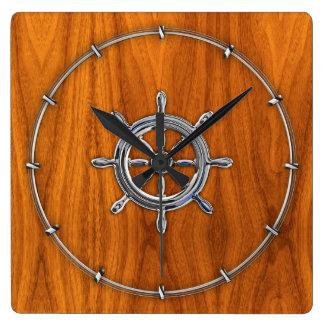 Chrome Style Nautical Wheel on Teak Veneer Square Wall Clock