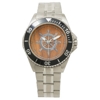 Chrome Style Nautical Wheel on Teak Veneer Watch