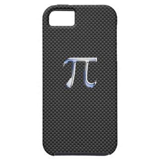 Chrome Style Pi Symbol on Black Carbon Fiber Print iPhone SE/5/5s Case