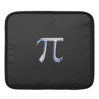 Chrome Style Pi Symbol on Carbon Fiber Print iPad Sleeves