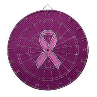 Chrome Style Pink Ribbon Awareness Carbon Fiber Dartboard With Darts