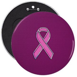 Chrome Style Pink Ribbon Awareness Carbon Fiber Pinback Button