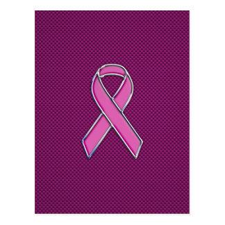 Chrome Style Pink Ribbon Awareness Carbon Fiber Postcard