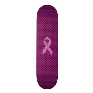 Chrome Style Pink Ribbon Awareness Carbon Fiber Skate Decks
