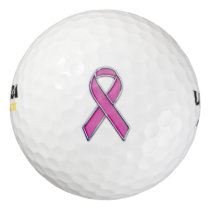 Chrome Style Pink Ribbon Awareness Golf Balls